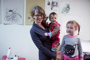 Current studio shot. Claire with her daughters Willa (18 months) and Ramona (3 years old)