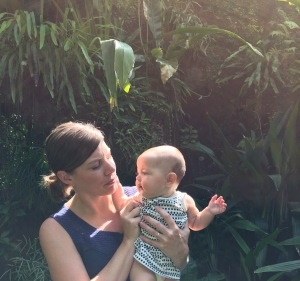 Erica and daughter Ona exploring the botanical gardens after a show